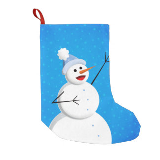 Blue Winter Happy Snowman Small Christmas Stocking