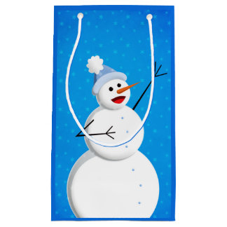 Blue Winter Happy Snowman Small Gift Bag