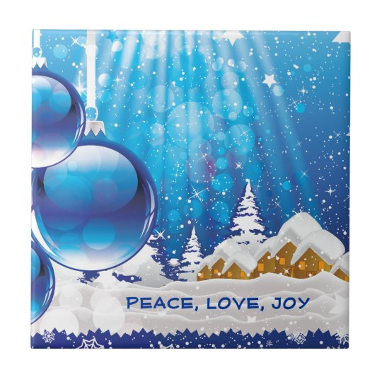 Blue winter landscape and Christmas balls custom Small Square Tile
