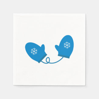 Blue Winter Mittens Paper Napkins