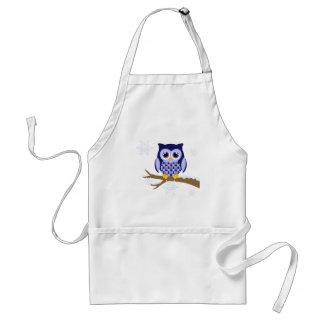 Blue winter owl apron