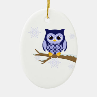 Blue winter owl christmas ornament