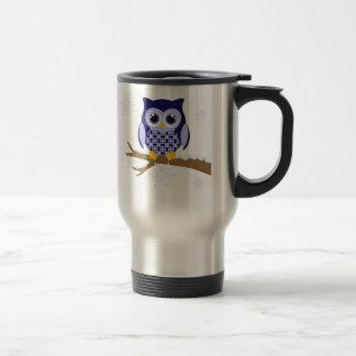 Blue winter owl coffee mugs