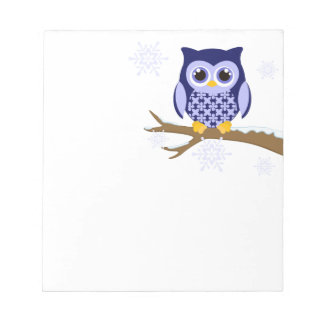 Blue winter owl notepads