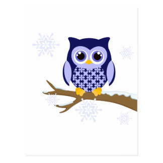 Blue winter owl post card