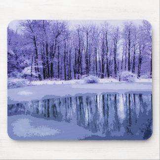 Blue Winter Pond Mouse Mat