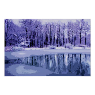 Blue Winter Pond Posters