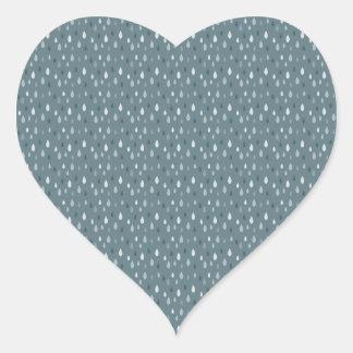 Blue Winter Rain Drops Pattern Heart Sticker