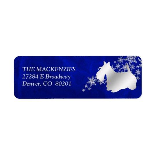 Blue Winter Scottish Terrier Return Address