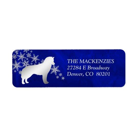Blue Winter Siberian Husky Return Address