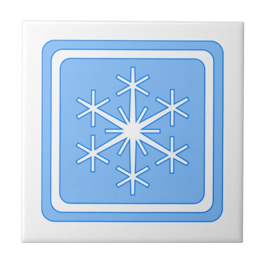 Blue Winter Sign Small Square Tile
