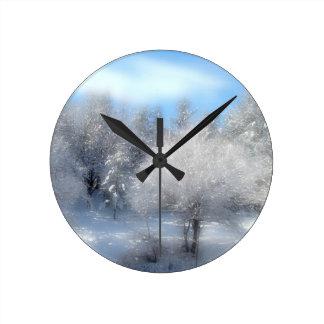 Blue Winter Sky Round Clock