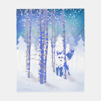 Blue Winter Snow Forest Fox Animal Fleece Blanket