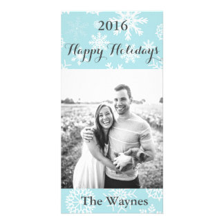 Blue Winter Snowflake Christmas Gray Greeting card Customised Photo Card