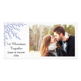 Blue Winter Snowflake First Christmas Together Photo Card
