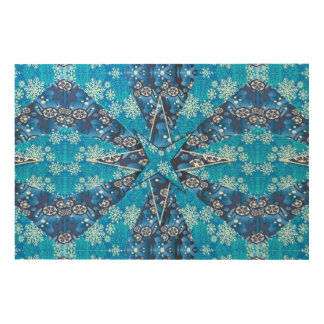 Blue Winter Snowflake Fractal Wood Canvas