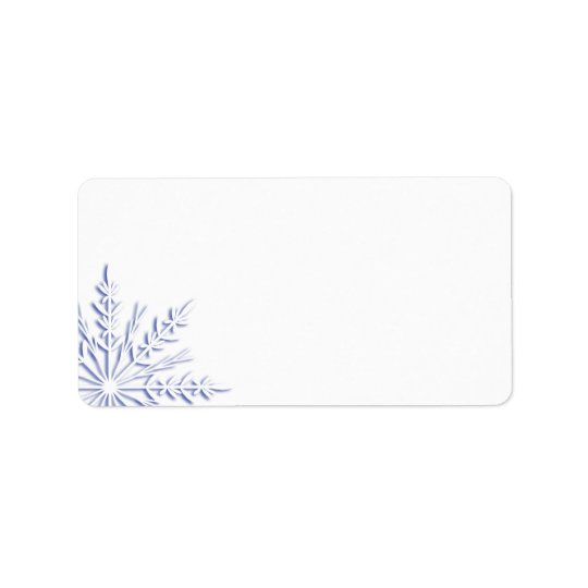 Blue Winter Snowflake on White Address Label
