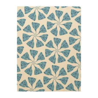 Blue Winter Snowflake Pattern Pinwheel Wood Prints