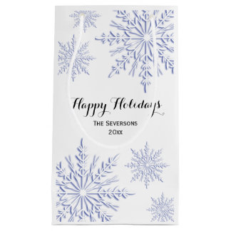 Blue Winter Snowflakes Happy Holidays Small Gift Bag