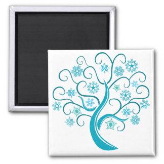 Blue Winter Tree Square Magnet