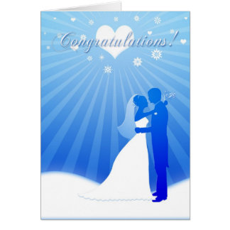 Blue Winter Wedding Congratulations Card