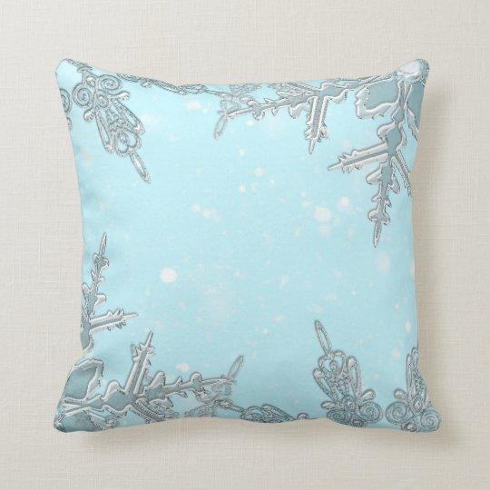 Blue Winter Wonderland Elegant Snowflakes Pretty Cushion