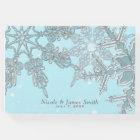 Blue Winter Wonderland Elegant Snowflakes Wedding Guest Book