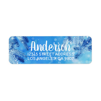 Blue Winter Wonderland Return Address Labels