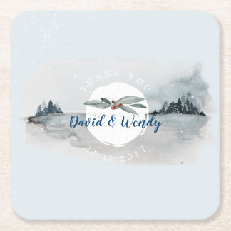 Blue Winter Wonderland square paper coaster