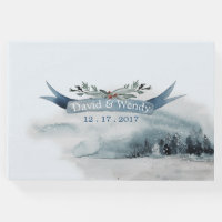 Blue Winter Wonderland Wedding Guest Book