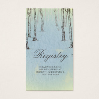 Blue Winter Woods Wedding Registry CardGolden L Business Card