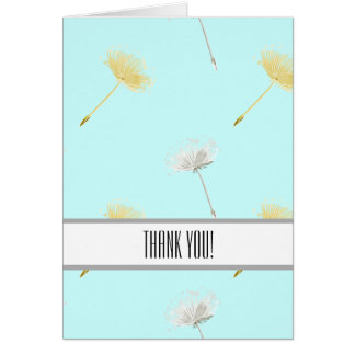 Blue Wishes Dandelion Flowers Thank You Note Card
