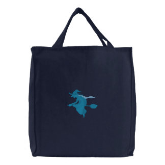 Blue Witch Flying On Broomstick Bags