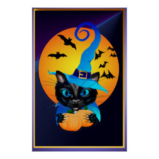 Blue Witch Kitty -Harvest Moon Poster