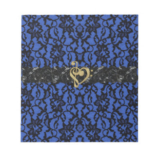 Blue with Black Lace and Gold Music Heart Notepad