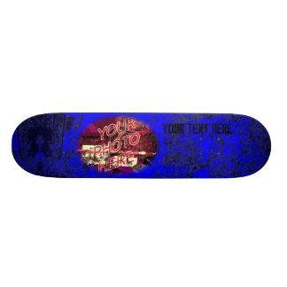 Blue with Dark Grunge Photo Template Skateboard