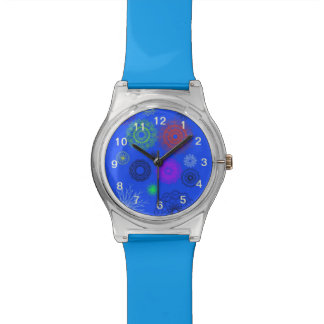 blue with different pattern watch