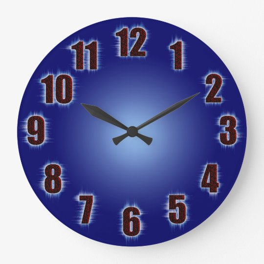Blue With Fiery Red Numbers Large Clock Zazzle Co Uk