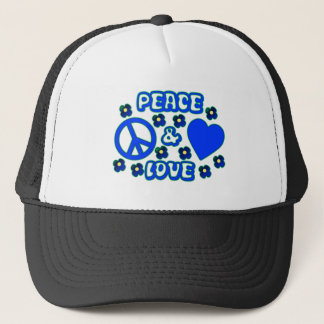 Blue with Flowers Peace and Love Design Trucker Hat