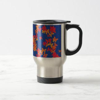 Blue With Orange Red Butterflies Travel Mug