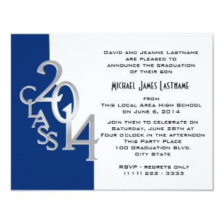 Blue with Silver Class of  2014 Grad 4.25 x 5.5 Card