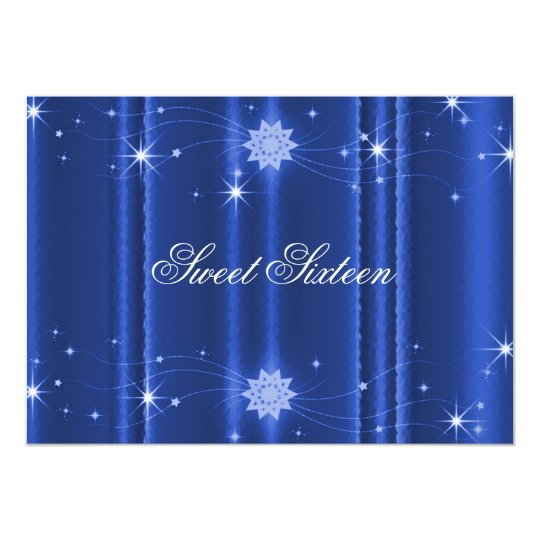 Blue with Stars Sweet Sixteen Invitation