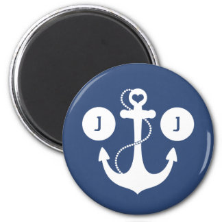 Blue with White Anchor Monogram Magnet