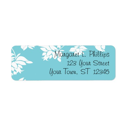 Blue with White Flowers Label Return Address Label