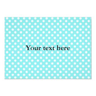 Blue with white polkadots 13 cm x 18 cm invitation card