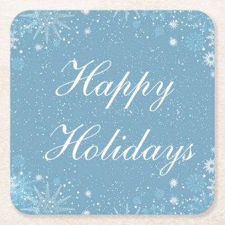 Blue with White Snowflake Coaster