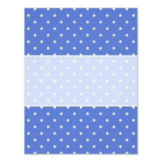 Blue with white stars. Pattern. 11 Cm X 14 Cm Invitation Card