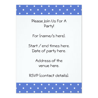 Blue with white stars. Pattern. 17 Cm X 22 Cm Invitation Card