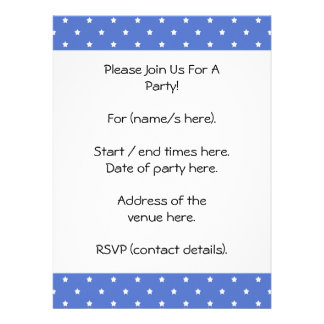 Blue with white stars Pattern Personalized Invite