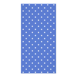 Blue with white stars. Pattern. Photo Card Template